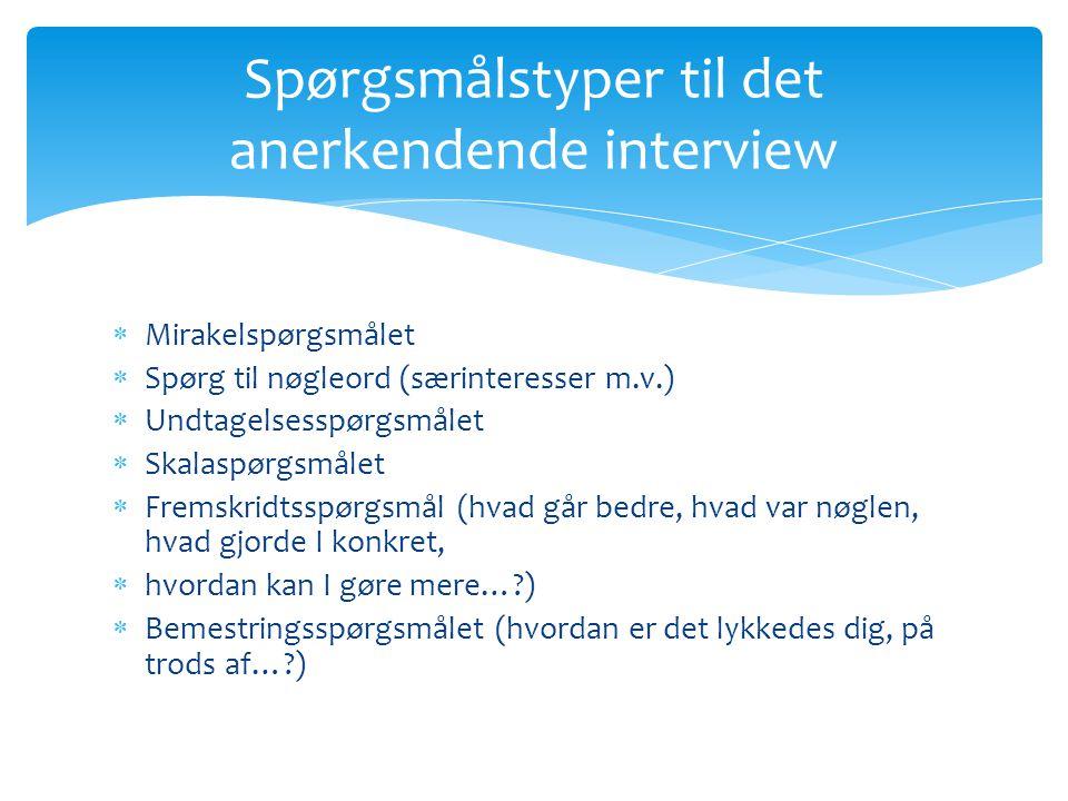 Spørgsmålstyper til det anerkendende interview