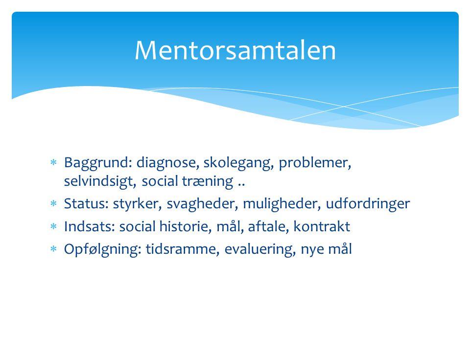 Mentorsamtalen Baggrund: diagnose, skolegang, problemer, selvindsigt, social træning .. Status: styrker, svagheder, muligheder, udfordringer.