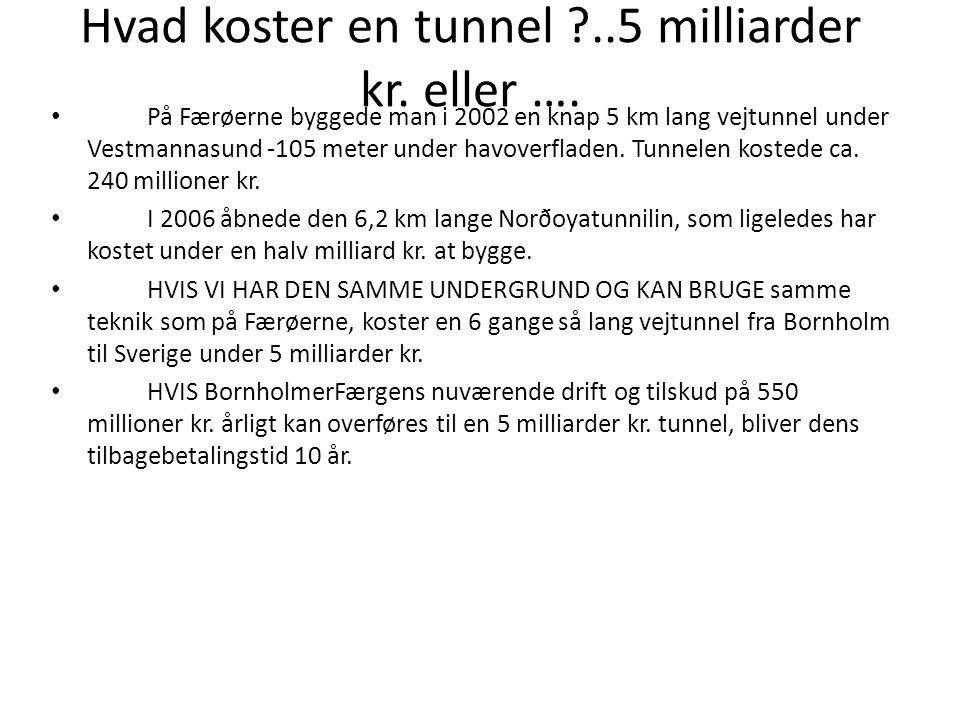 Hvad koster en tunnel ..5 milliarder kr. eller ….