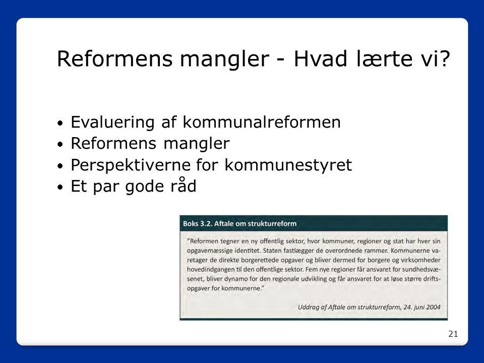Reformens mangler - Hvad lærte vi