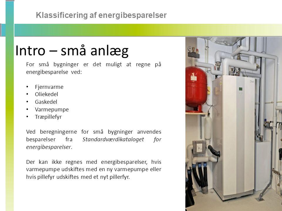 Intro – små anlæg Klassificering af energibesparelser
