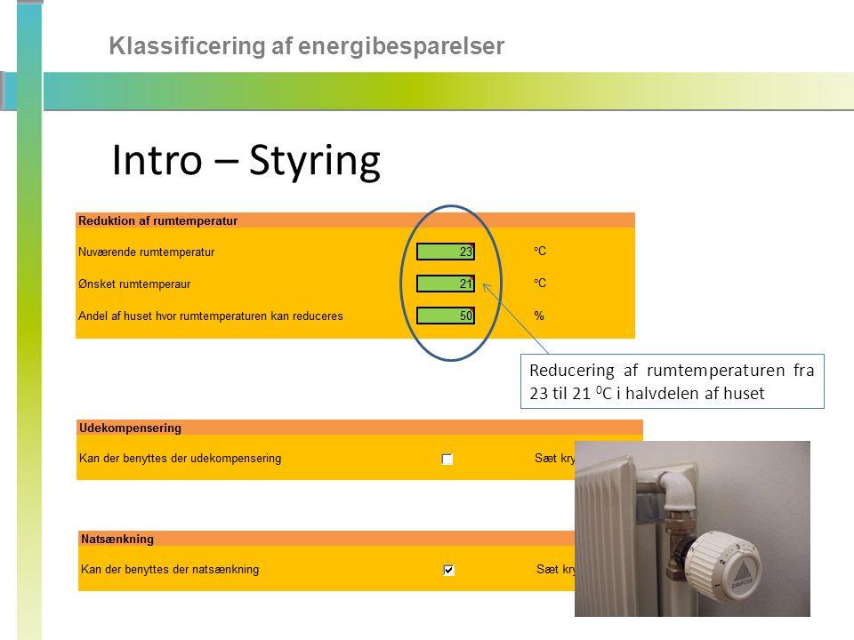 Intro – Styring Klassificering af energibesparelser