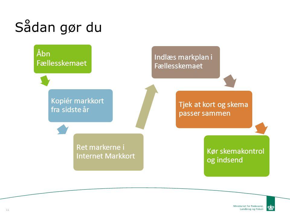 Sådan gør du Åbn Fællesskemaet Kopiér markkort fra sidste år