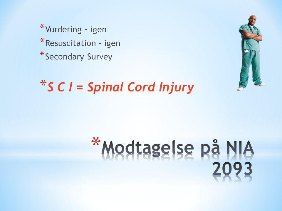 Modtagelse på NIA 2093 S C I = Spinal Cord Injury Vurdering - igen