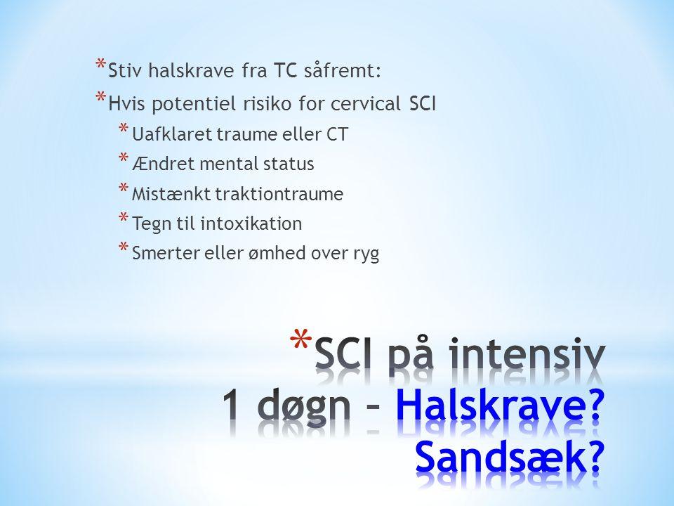 SCI på intensiv 1 døgn – Halskrave Sandsæk