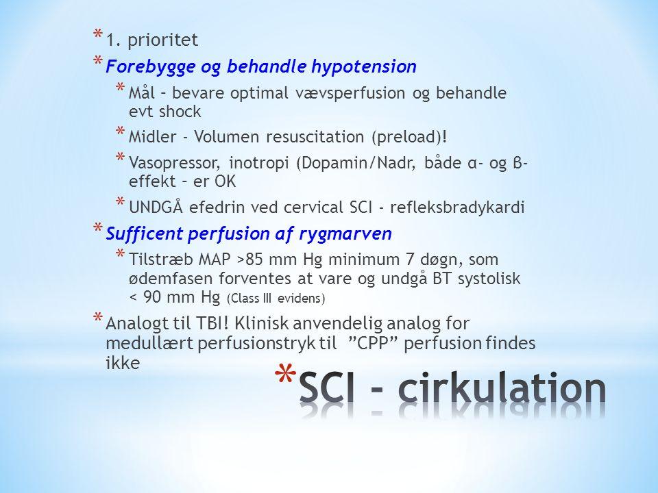 SCI - cirkulation 1. prioritet Forebygge og behandle hypotension
