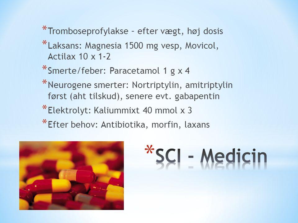 SCI - Medicin Tromboseprofylakse – efter vægt, høj dosis