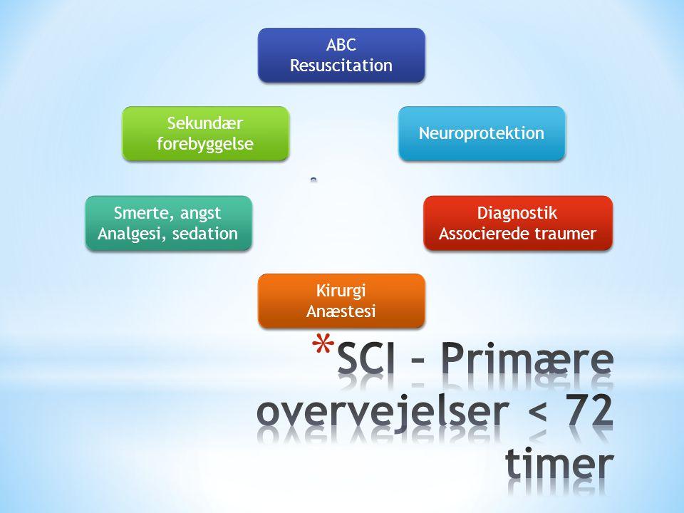 SCI – Primære overvejelser < 72 timer