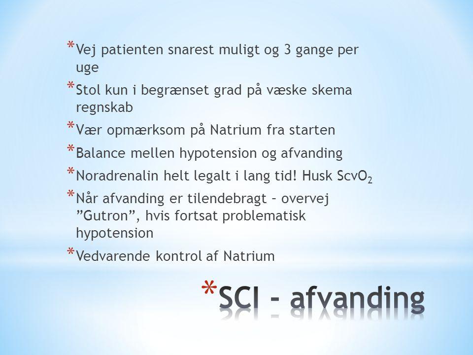 SCI - afvanding Vej patienten snarest muligt og 3 gange per uge