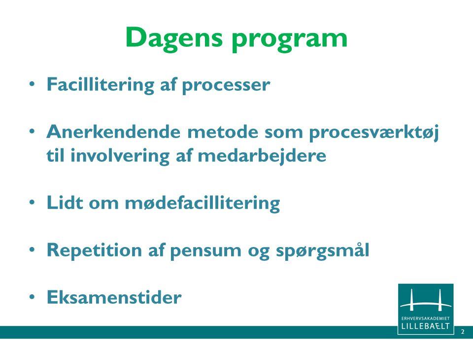 Dagens program Facillitering af processer
