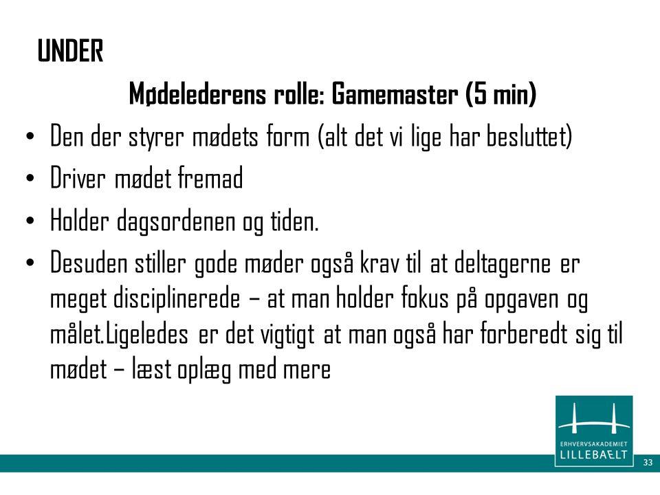 Mødelederens rolle: Gamemaster (5 min)