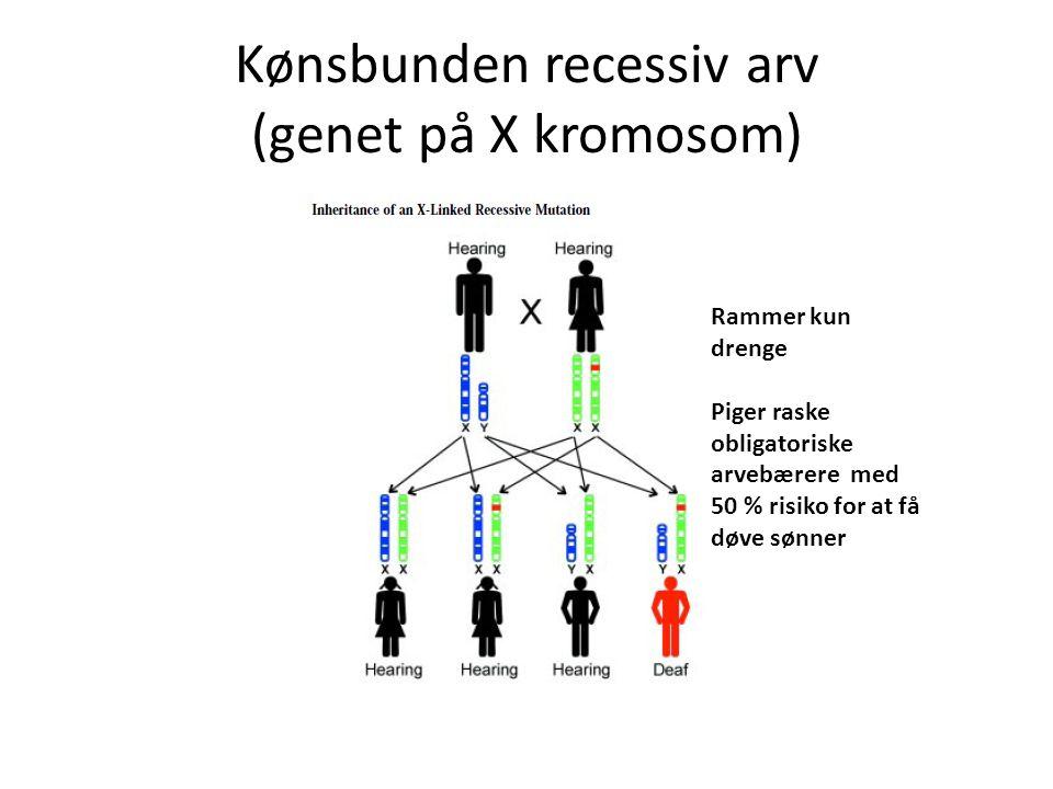 Kønsbunden recessiv arv (genet på X kromosom)