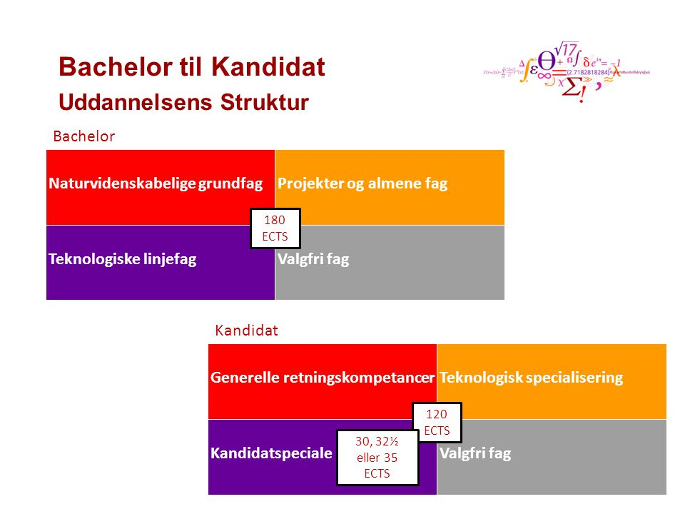 Bachelor til Kandidat Uddannelsens Struktur Bachelor