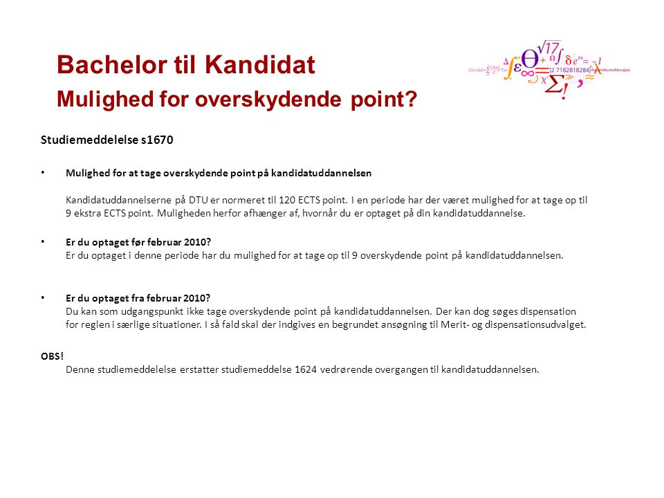 Bachelor til Kandidat Mulighed for overskydende point