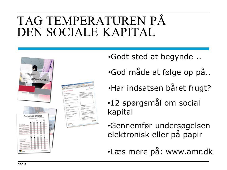 TAG TEMPERATUREN PÅ DEN SOCIALE KAPITAL