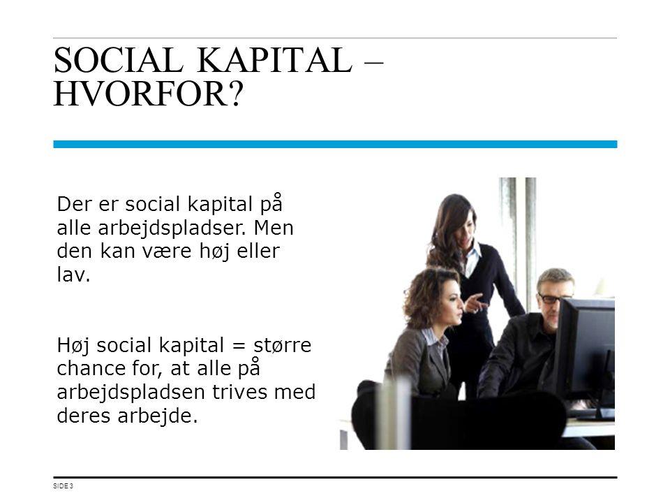 SOCIAL KAPITAL – HVORFOR