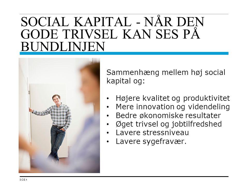 SOCIAL KAPITAL - NÅR DEN GODE TRIVSEL KAN SES PÅ BUNDLINJEN