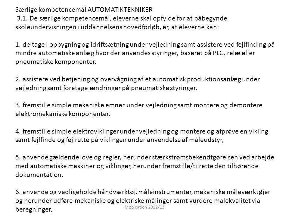 Særlige kompetencemål AUTOMATIKTEKNIKER