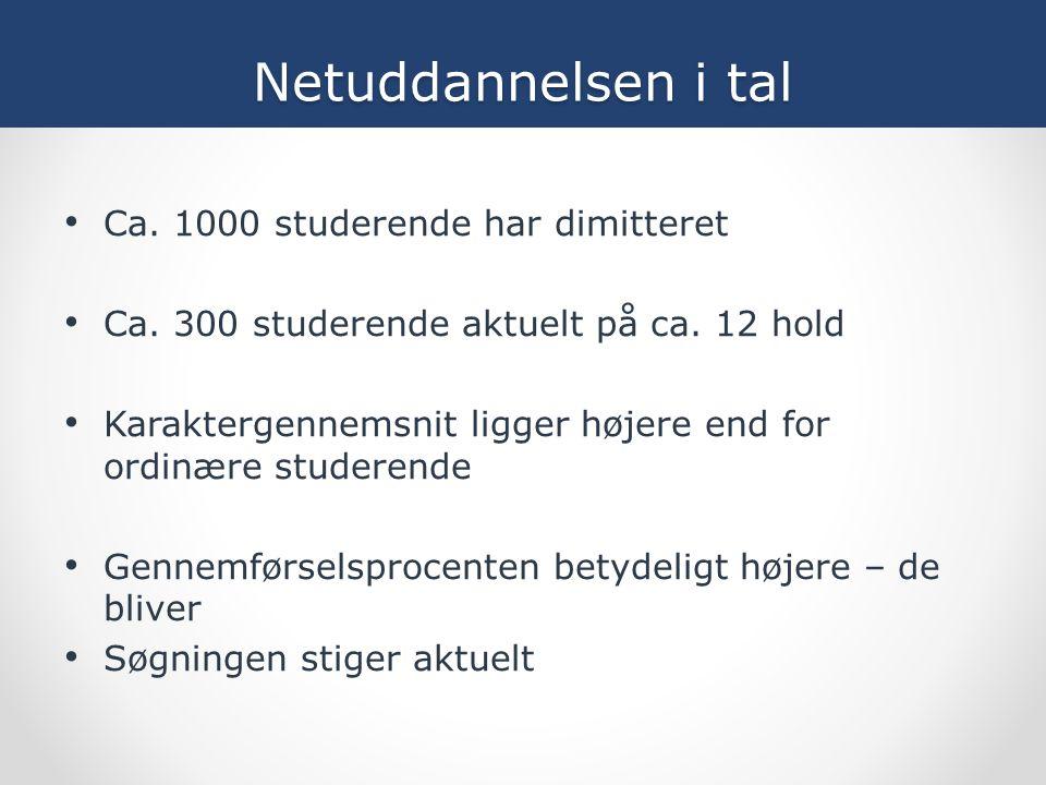 Netuddannelsen i tal Ca. 1000 studerende har dimitteret