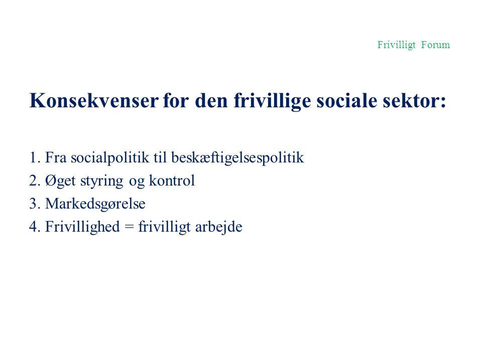 Konsekvenser for den frivillige sociale sektor: