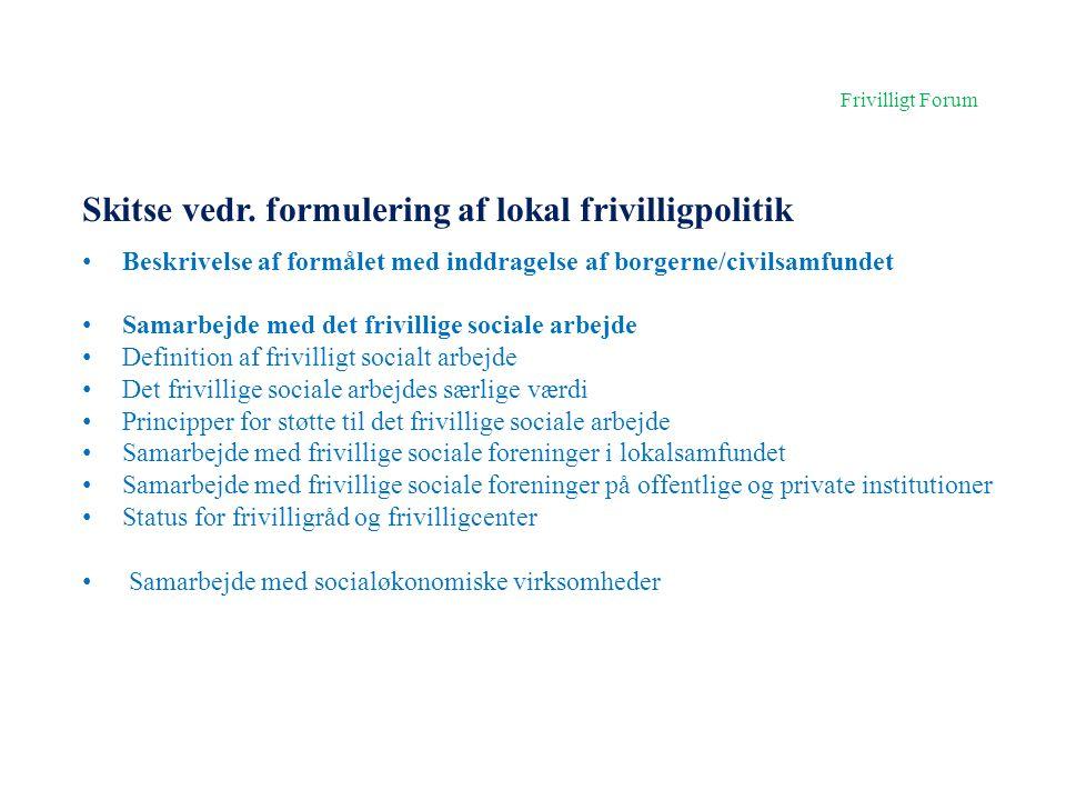 Skitse vedr. formulering af lokal frivilligpolitik