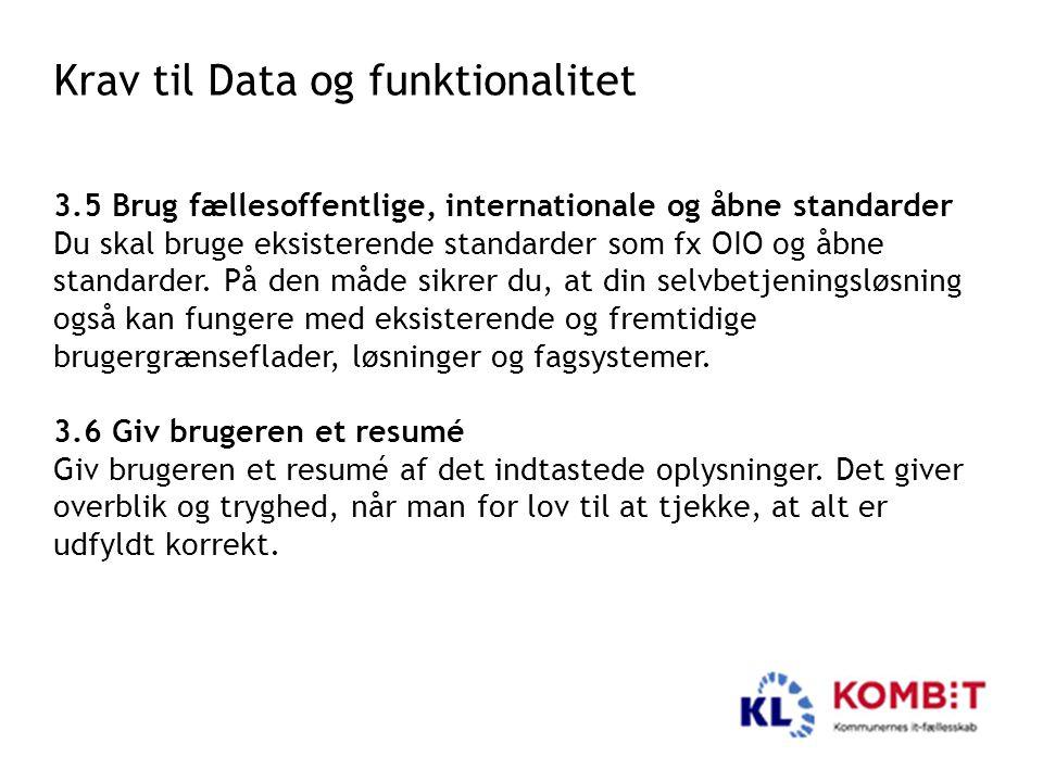 Krav til Data og funktionalitet