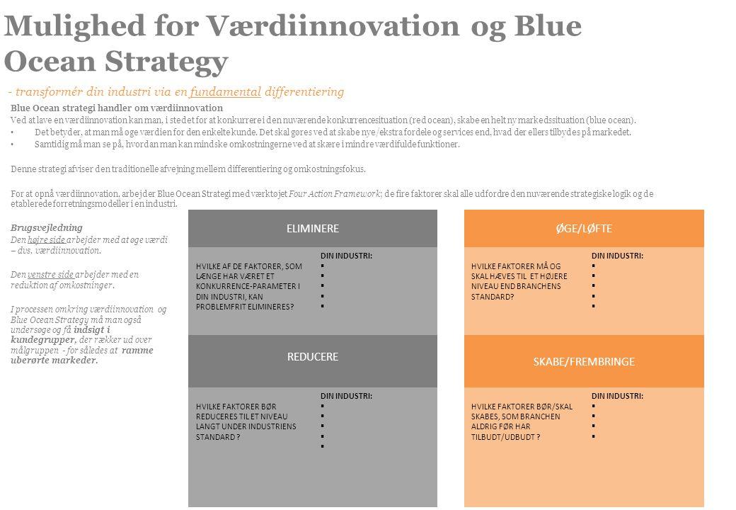 Mulighed for Værdiinnovation og Blue Ocean Strategy - transformér din industri via en fundamental differentiering