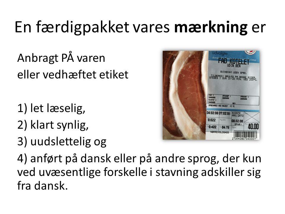 En færdigpakket vares mærkning er