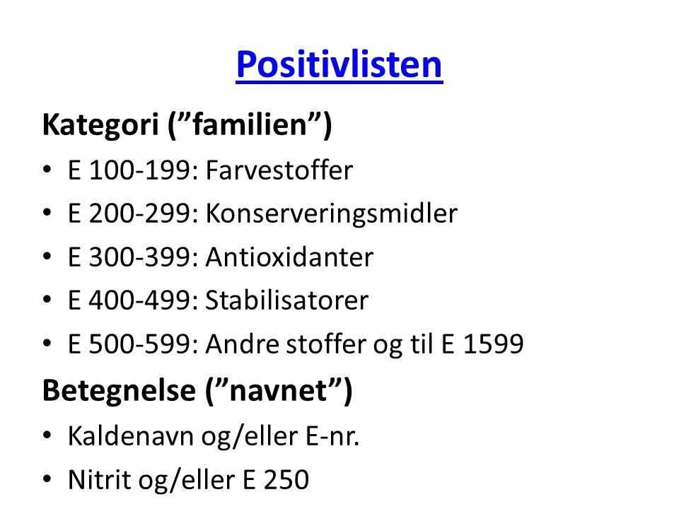 Positivlisten Kategori ( familien ) Betegnelse ( navnet )