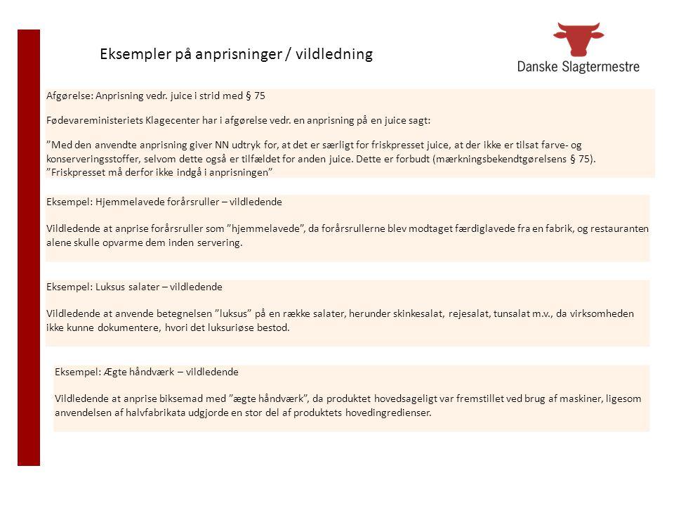 Eksempler på anprisninger / vildledning