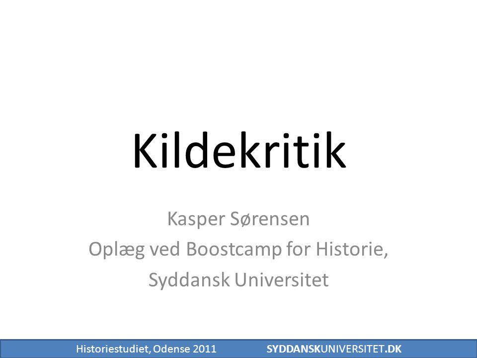 Kasper Sørensen Oplæg ved Boostcamp for Historie, Syddansk Universitet
