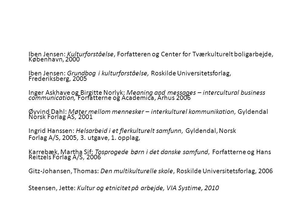 Iben Jensen: Kulturforståelse, Forfatteren og Center for Tværkulturelt boligarbejde, København, 2000