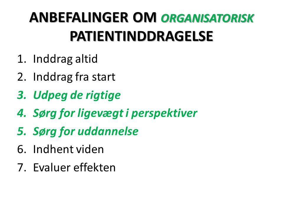 ANBEFALINGER OM ORGANISATORISK PATIENTINDDRAGELSE