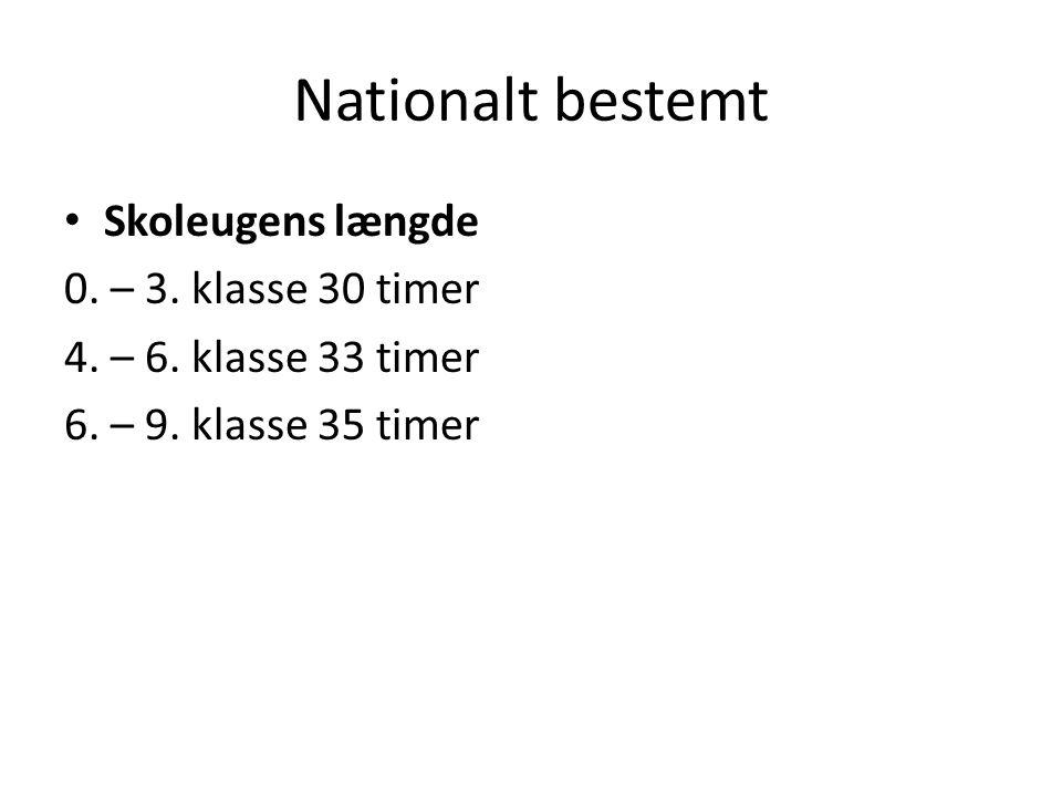 Nationalt bestemt Skoleugens længde 0. – 3. klasse 30 timer