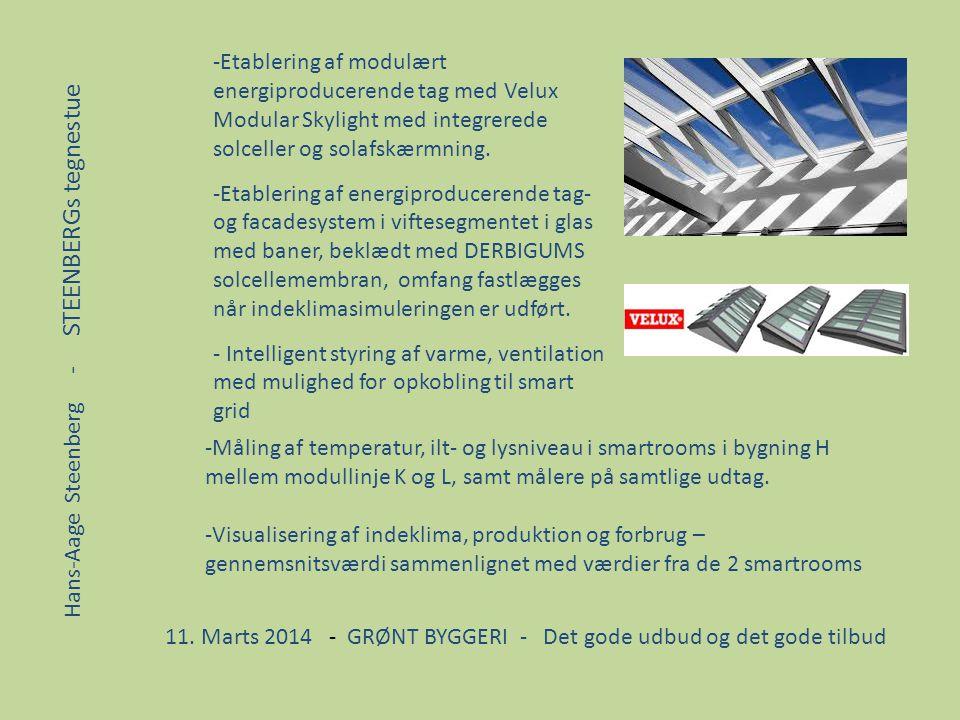 Etablering af modulært energiproducerende tag med Velux Modular Skylight med integrerede solceller og solafskærmning.