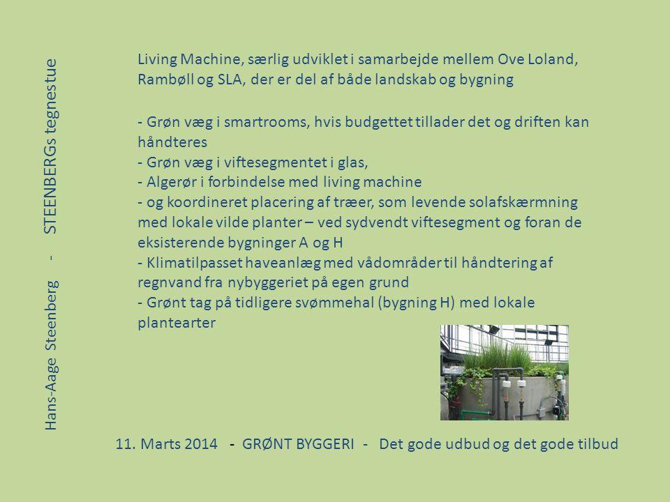 Living Machine, særlig udviklet i samarbejde mellem Ove Loland, Rambøll og SLA, der er del af både landskab og bygning