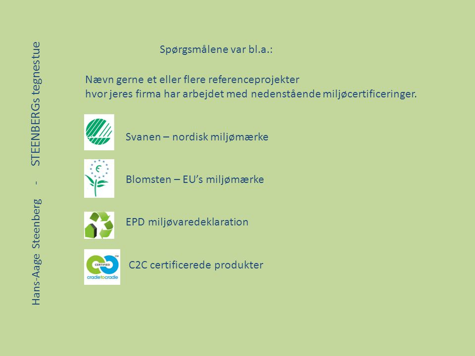 Spørgsmålene var bl.a.: Nævn gerne et eller flere referenceprojekter. hvor jeres firma har arbejdet med nedenstående miljøcertificeringer.