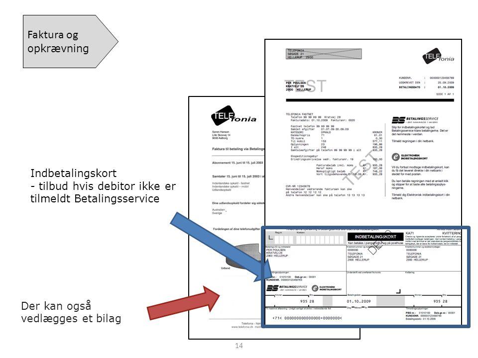 Faktura og opkrævning Indbetalingskort - tilbud hvis debitor ikke er tilmeldt Betalingsservice.