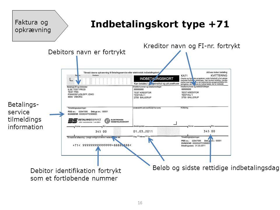 Indbetalingskort type +71