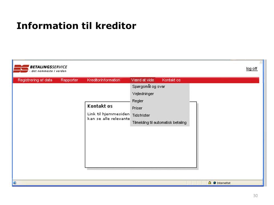 Information til kreditor
