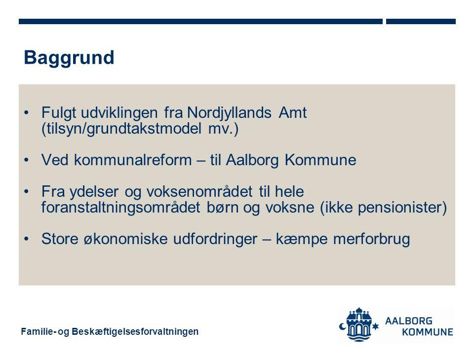 Baggrund Fulgt udviklingen fra Nordjyllands Amt (tilsyn/grundtakstmodel mv.) Ved kommunalreform – til Aalborg Kommune.