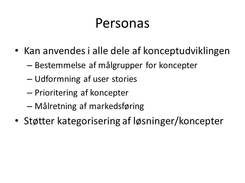 Personas Kan anvendes i alle dele af konceptudviklingen