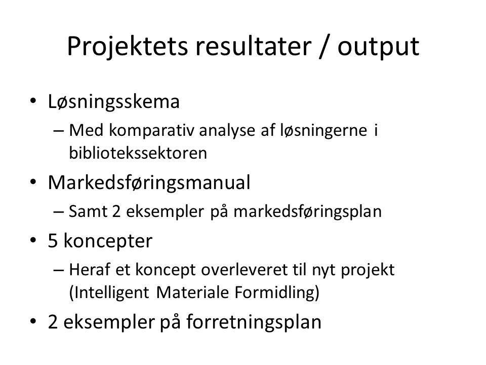 Projektets resultater / output