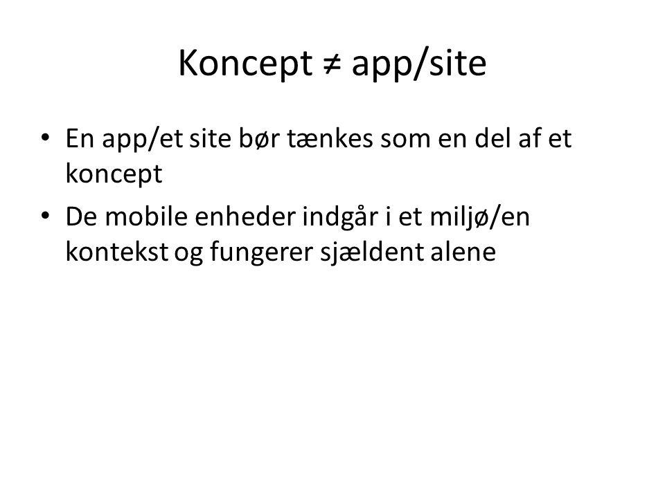 Koncept ≠ app/site En app/et site bør tænkes som en del af et koncept