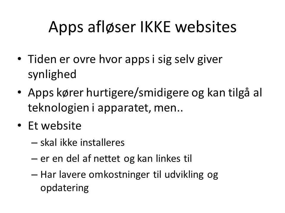 Apps afløser IKKE websites