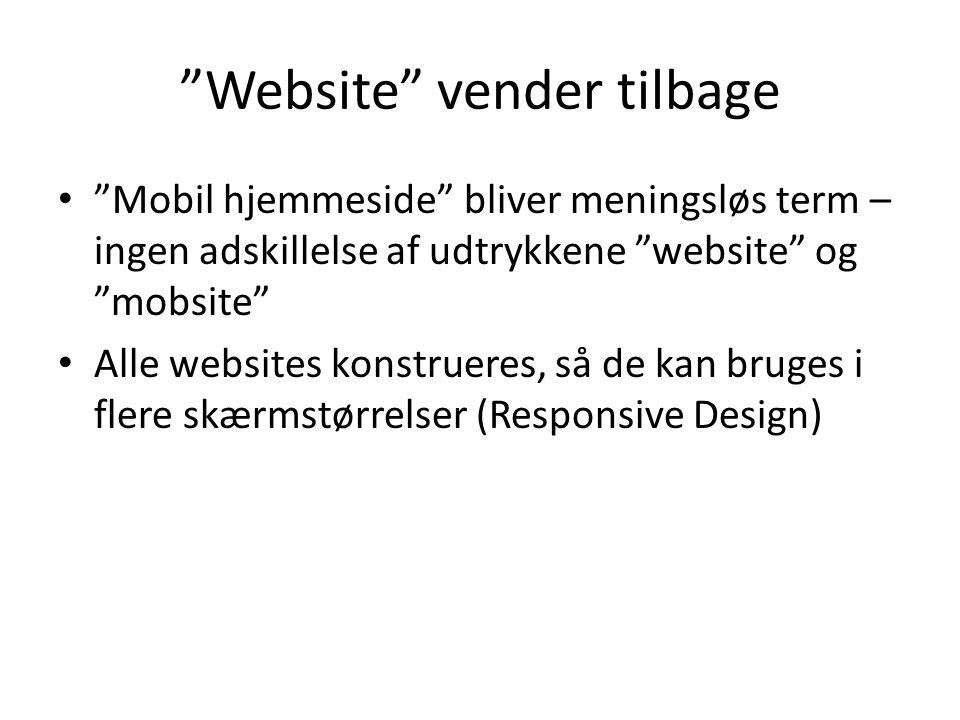 Website vender tilbage