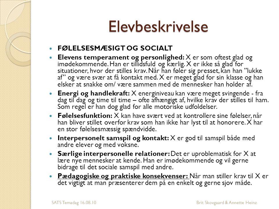 Elevbeskrivelse FØLELSESMÆSIGT OG SOCIALT