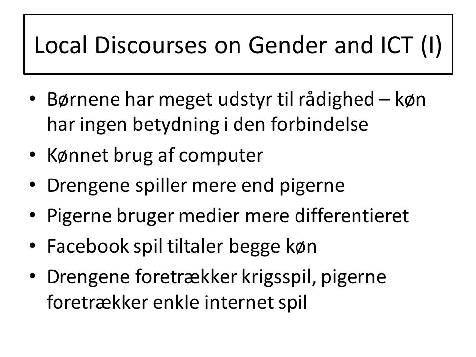 Local Discourses on Gender and ICT (I)