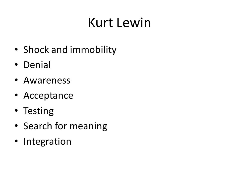 Kurt Lewin Shock and immobility Denial Awareness Acceptance Testing