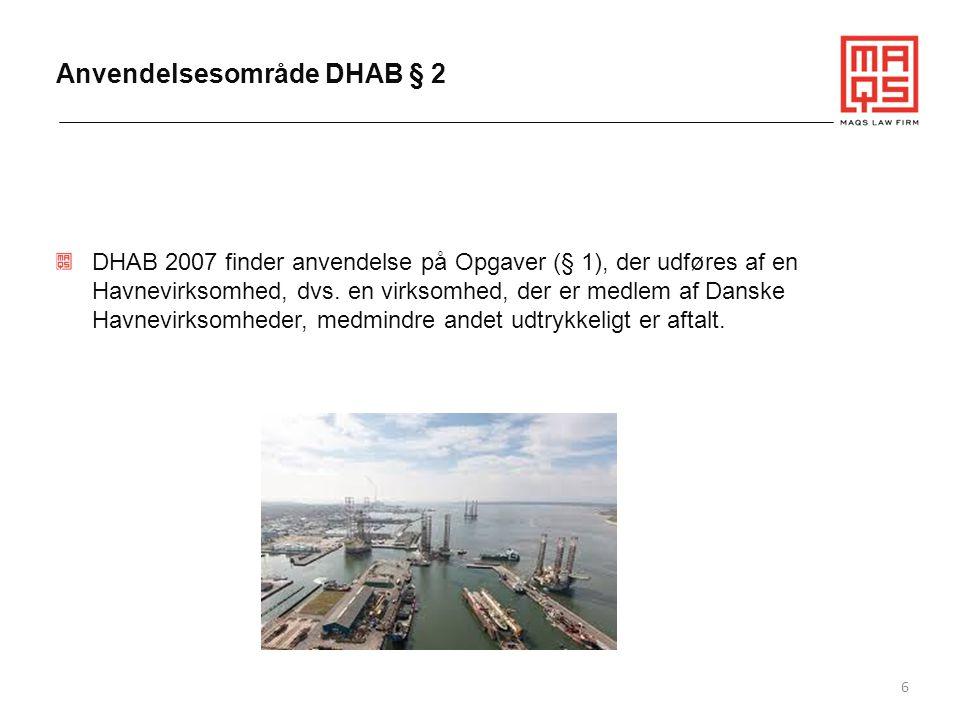Anvendelsesområde DHAB § 2